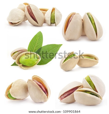 Collection of Pistachio nuts, fruits isolated on white background