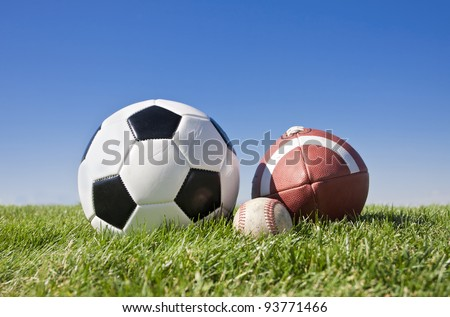 Collection of popular outdoor sports balls