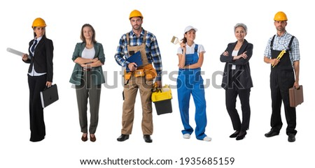 Collection of portraits of construction industry workers. Design element, studio isolated on white background Photo stock ©