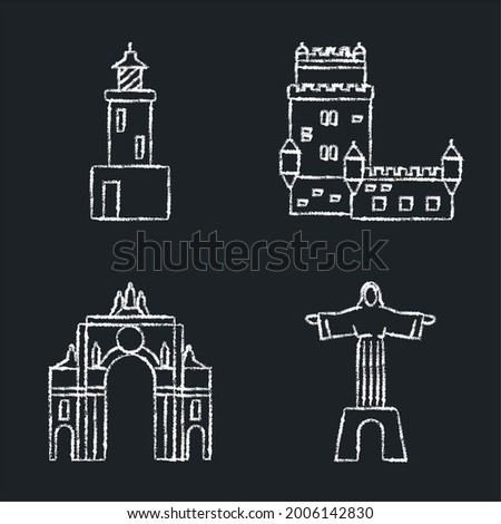 Collection of Portugal icons on chalkboard. Architecture symbols set including Belem tower, rua Augusta arch, lighthouse and Christ statue. Foto stock ©