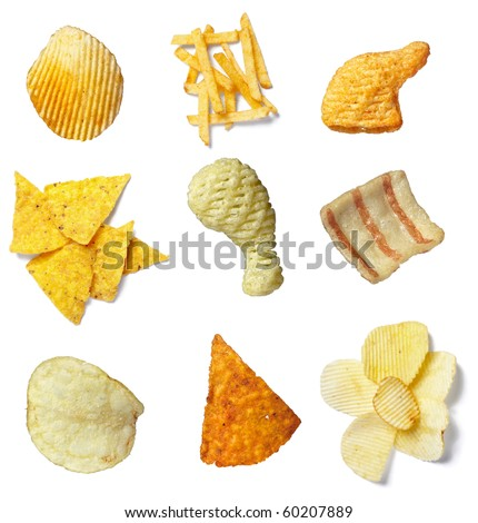 collection of potato chips on white background. each one is in full camera resolution