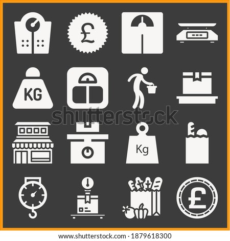 Collection of 16 pounds filled icons included kilo, scale, scales, weighing, weight, delivery, balance, pounds money coin, groceries, worker carrying bucket, pounds sticker Photo stock ©