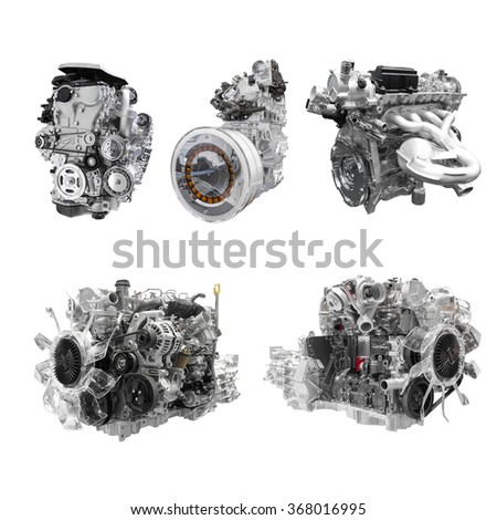 Collection of Powerful Car engine isolated on white background with clipping path
