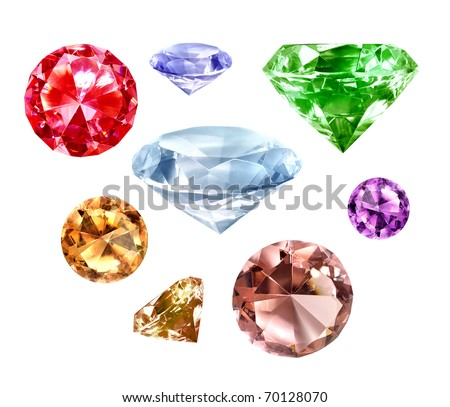 Collection of precious diamonds isolated on white background