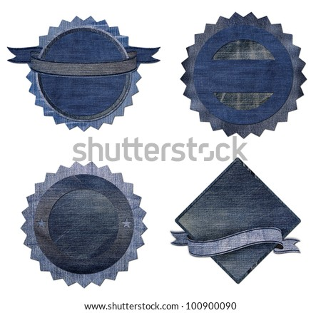 Collection of Premium Quality and Guarantee Labels with blue jean vintage styled design isolate on white background