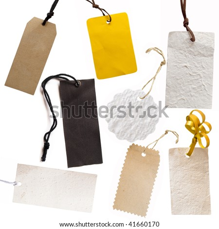 collection of price tags or address labels