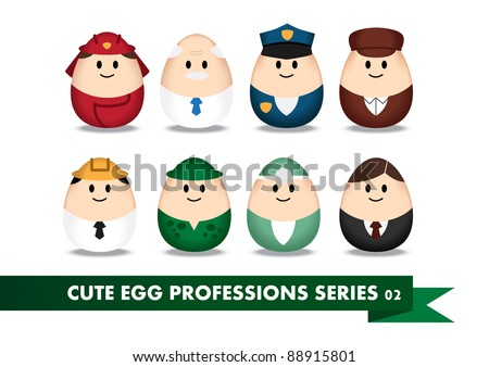Collection of profession image in egg-shaped
