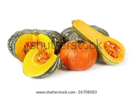 Collection of pumpkins, isolated on white.  Includes butternut, kent, and golden nugget varieties.