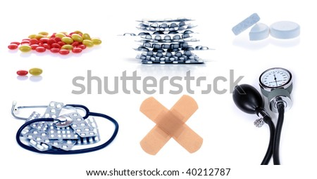 "collection of ""meds"": lots of pills and sphygmomanometer - stock photo"