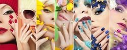 Collection of rainbow colored makeup and nail designs for every holiday and time of year.