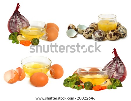 Collection of raw eggs isolated on white background