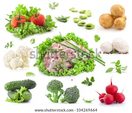 Collection of raw meat, vegetables, fresh lettuce, herbs and spices isolated on white background