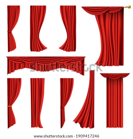 Collection of realistic red curtains. Theater fabric silk decoration for movie cinema or opera hall. Curtains and draperies interior decoration object. Isolated on white for theater stage