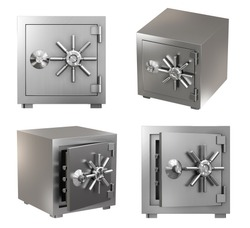 Collection of Realistic Safe Box. High Detailed 3d Rendering Isolated on White Background