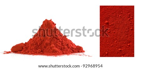 Collection of red powder isolated on white