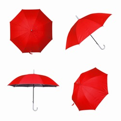Collection of red umbrella isolated on a white background