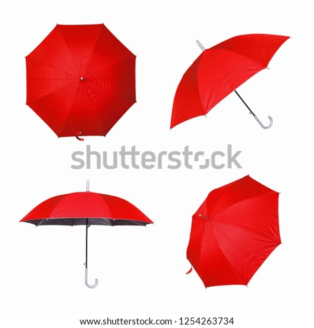 Collection of red umbrella isolated on a white background #1254263734