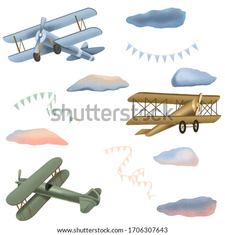 Collection of retro airplanes, clouds and festive garlands, hand drawn isolated on a white background stock photo