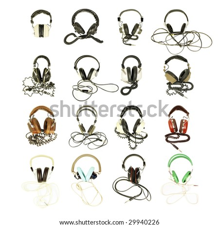 collection of retro headphones shot against white