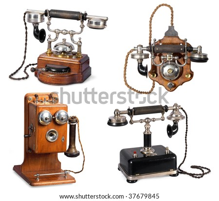 Collection of retro telephones - stock photo