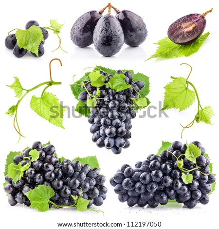 Collection of Ripe dark grapes with leaves, Isolated on white background
