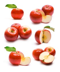 collection of ripe red apples