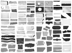 Collection of ripped torn paper isolated on white background