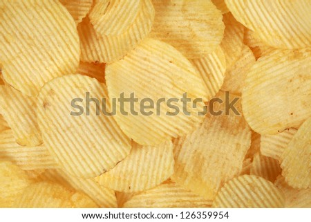 Collection of rippled potato chips forming a background
