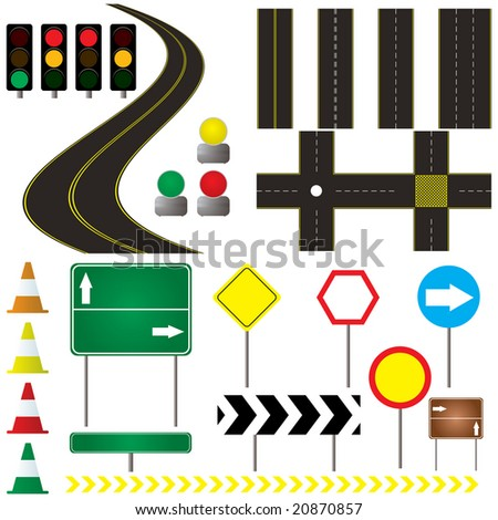 collection of road markings and sign that can be used in your own design