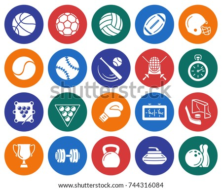 Collection of round icons: Sport