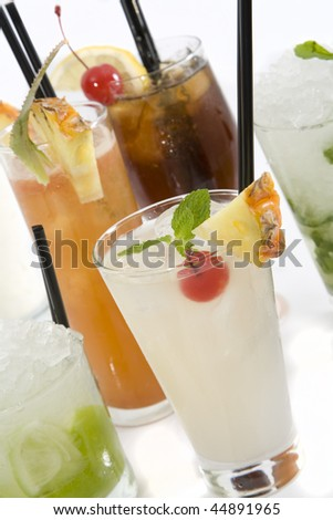 Collection of Rum Cocktails on white background.
