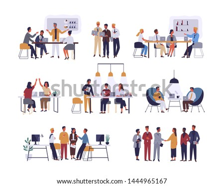 Collection of scenes at office. Bundle of men and women taking part in business meeting, negotiation, brainstorming, talking to each other. Colorful illustration in flat cartoon style.