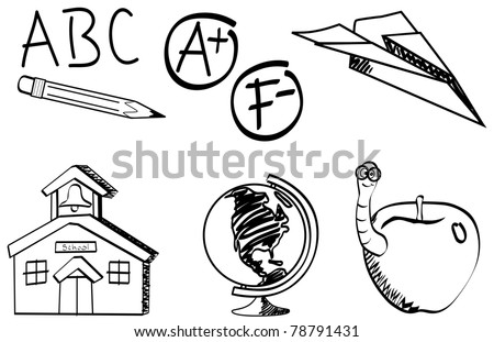 Collection of school related sketches Vector Available
