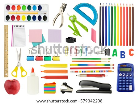 Collection of school supplies, isolated on pure white background.
