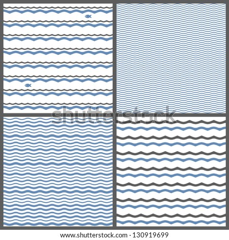 Collection of 4 seamless patterns with waves. Raster version of Vector set.