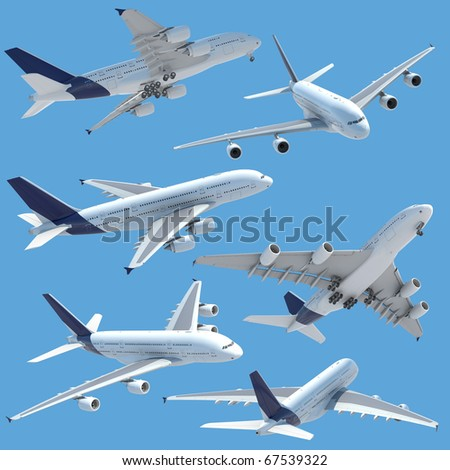 collection of several views of airplane airbus a 380 isolated on solid color and with clipping path.