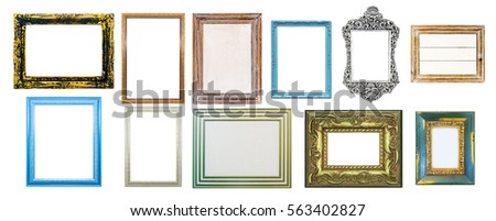 Collection of shabby distressed picture frames, isolated on white background.