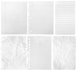 Collection of sheets from notebooks on white background
