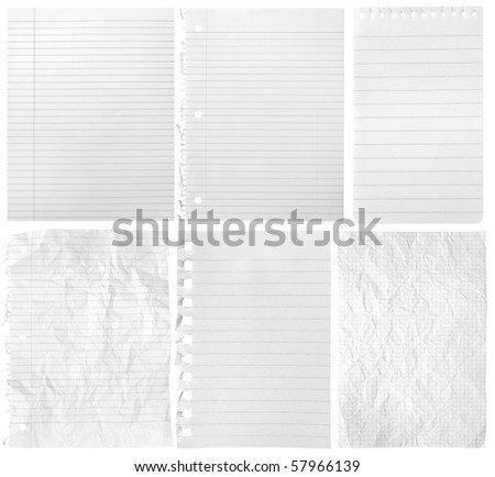 Collection of sheets from notebooks on white background #57966139