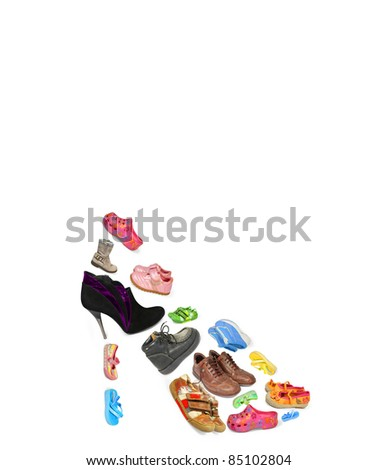 collection of shoes of different isolated