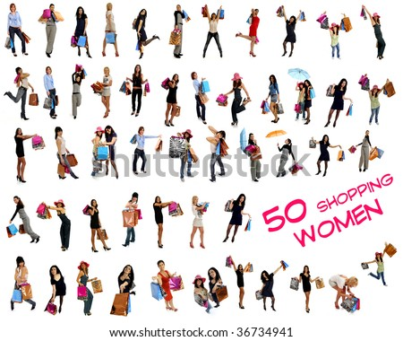 Collection of 50 shopping women going shopping with lots of colorful shopping bags. Isolated on white background.