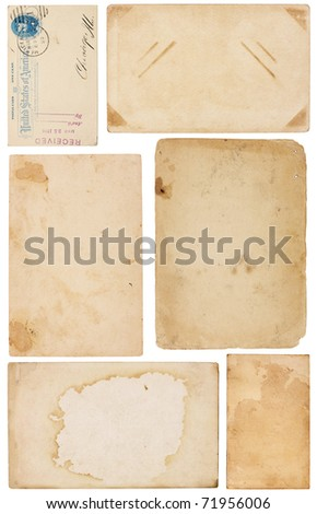 Collection of six aged, worn and stained paper scraps isolated on white. Most with room for text or images. - stock photo