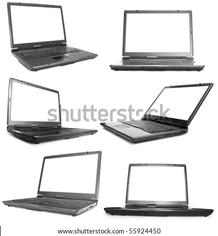 Collection of six black laptops on white background