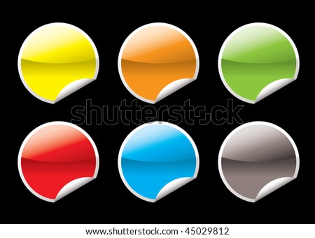 Collection of six circular icon with the corner curled #45029812
