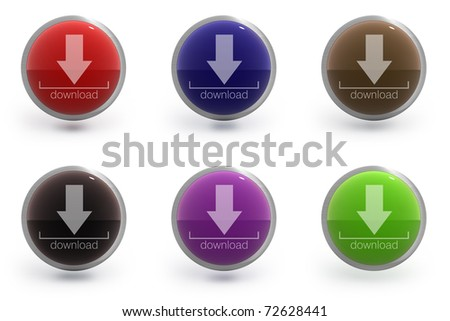 collection of six colorfull glossy icons