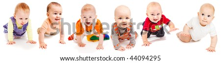 Collection of six lovely babies crawling, isolated