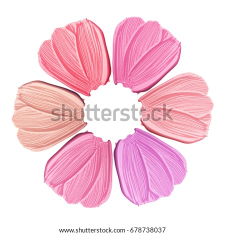 Collection of smears of lipstick. A flower from smears of lipstick. Isolated on white background #678738037