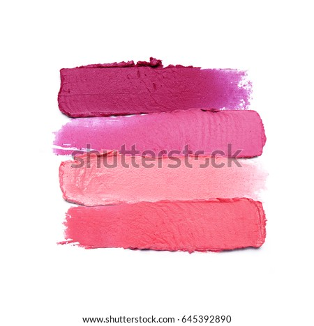 Collection of smudged lipsticks isolated on white - Shutterstock ID 645392890