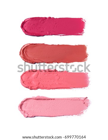 Collection of smudged lipsticks isolated on white #699770164