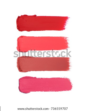 Collection of smudged lipsticks isolated on white #736559707